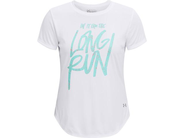 Under Armour Long Run Graphic Short Sleeve Shirt Women white/tile blue